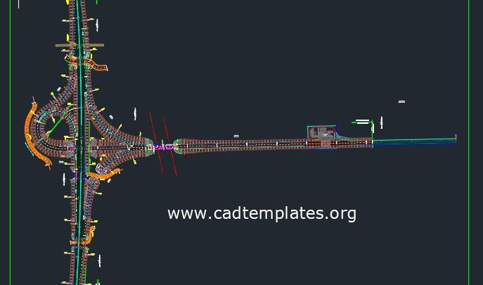 Expressway Trumpet Interchange With Drainage System CAD Template DWG
