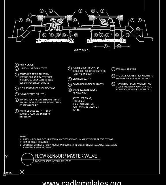 Flow Sensor And Master Valve Details CAD Template DWG