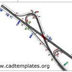Freeway Bias Trumpet Interchange Ramps Plan CAD Template DWG