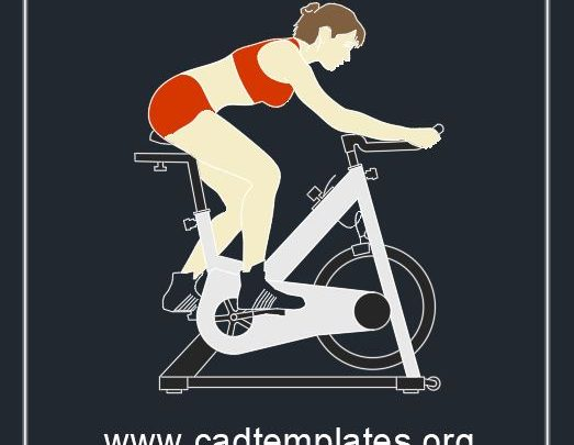 Gym Bike Block CAD Template DWG