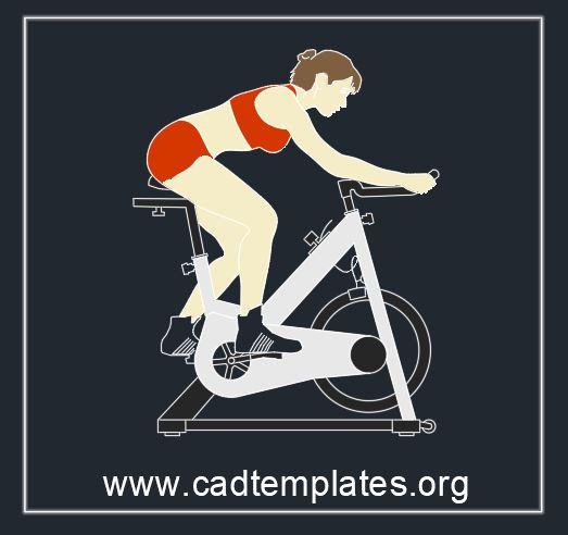 Gym Bike Block CAD Template DWG