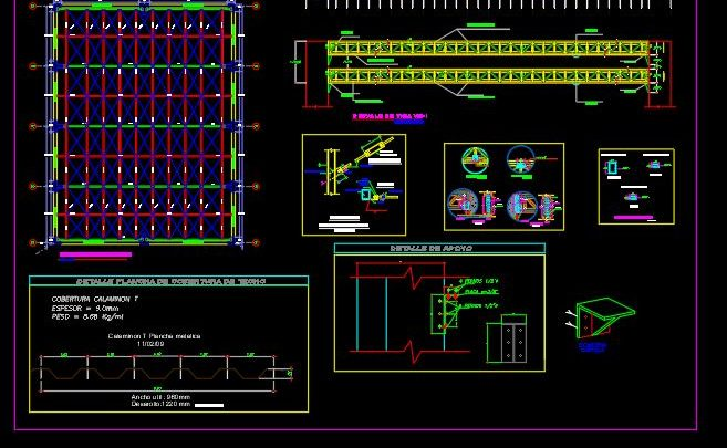 Gym Hall Steel Roof Details CAD Template DWG