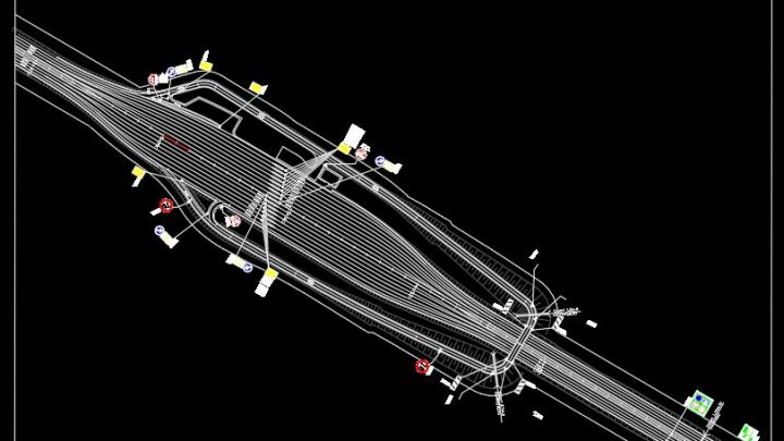 Interchange Over Toll Plaza With Markings and Signs Plan CAD Template DWG
