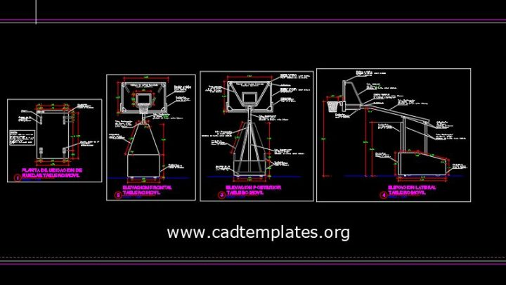 Mobile Basketball Boards Elevation Details CAD Template DWG