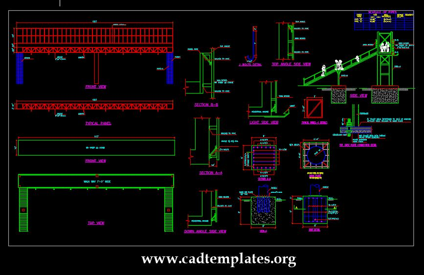 Pedestrian Bridge Elevation And Foundation Details CAD Template DWG