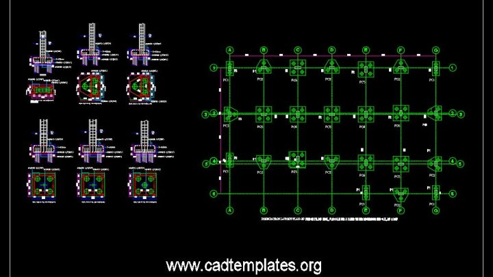 Pile Cap Layout and Sections Details CAD Template