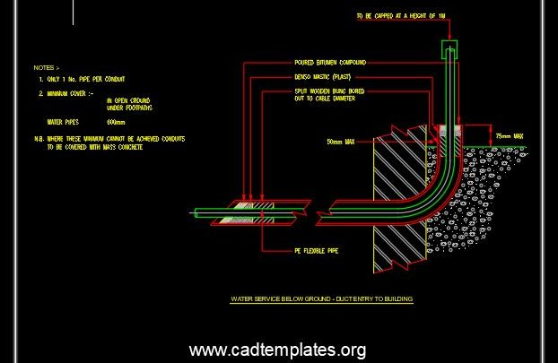 Potable Water Supply Building Connection Details CAD Template DWG