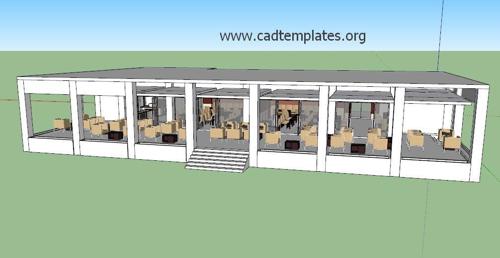 Restaurant SketchUp Model CAD Template SKP