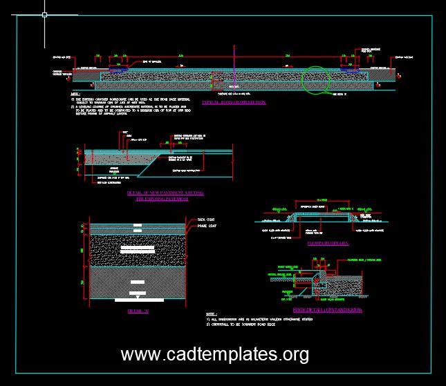 Roadwork Cross Section Pavement Details CAD Template DWG