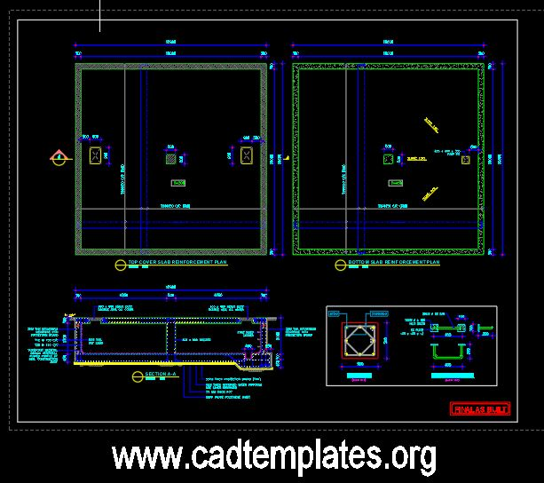 Sewage Holding Tank Sections Details CAD Template DWG