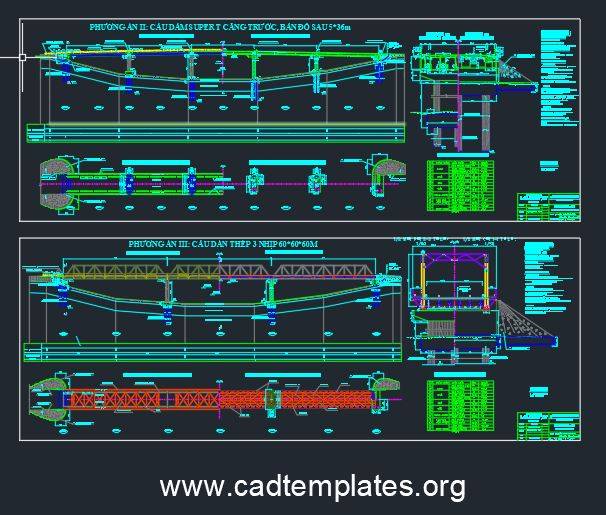 Steel Bridge Elevation and Layout Plan CAD Template DWG