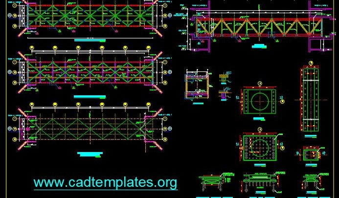 Steel Bridge Layout and bearing Details CAD Template DWG