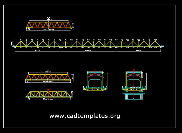 Steel Truss Bridge Cross Section CAD Template DWG