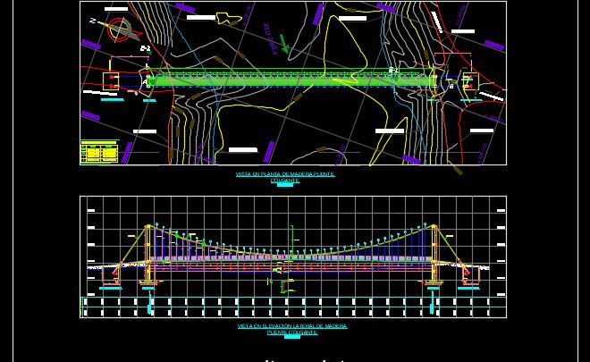 Suspension Bridge Plan and Elevation Details Templates DWG