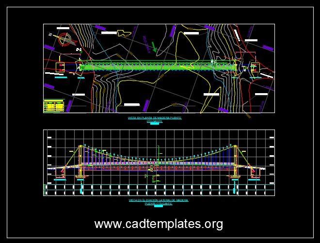 Suspension Bridge Plan and Elevation Details Templates DWG