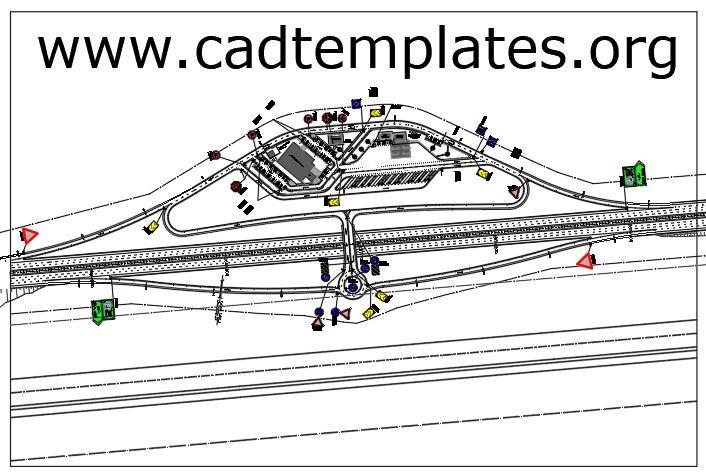 Tall Plaza Plan With Signs And Marking Details CAD Template DWG