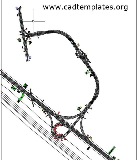 Trumpet Interchange With Toll Plaza Layout Plan CAD Template DWG