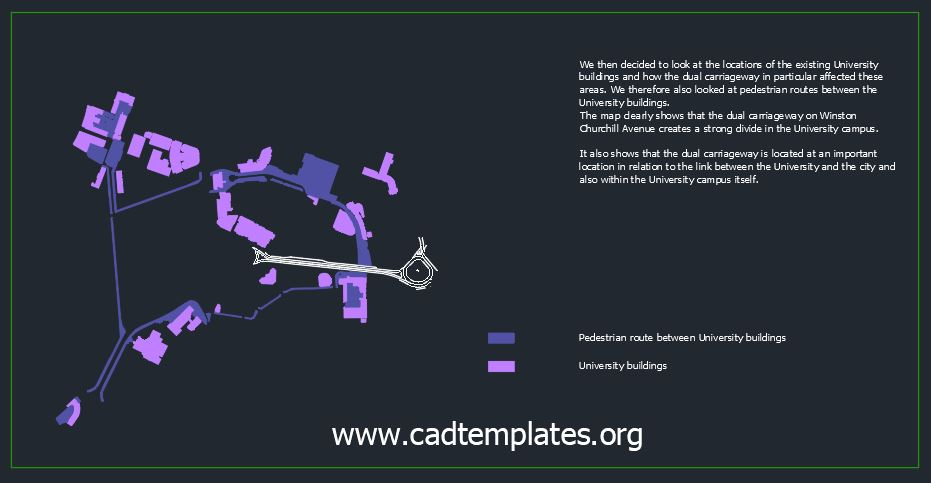 University Buildings And Roads General Plan CAD Template DWG