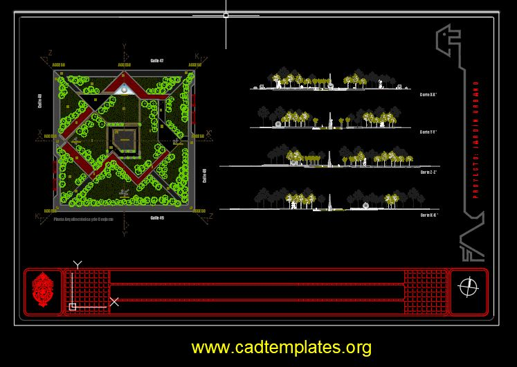Urban Garden Square Plan and Elevation Details CAD Template DWG