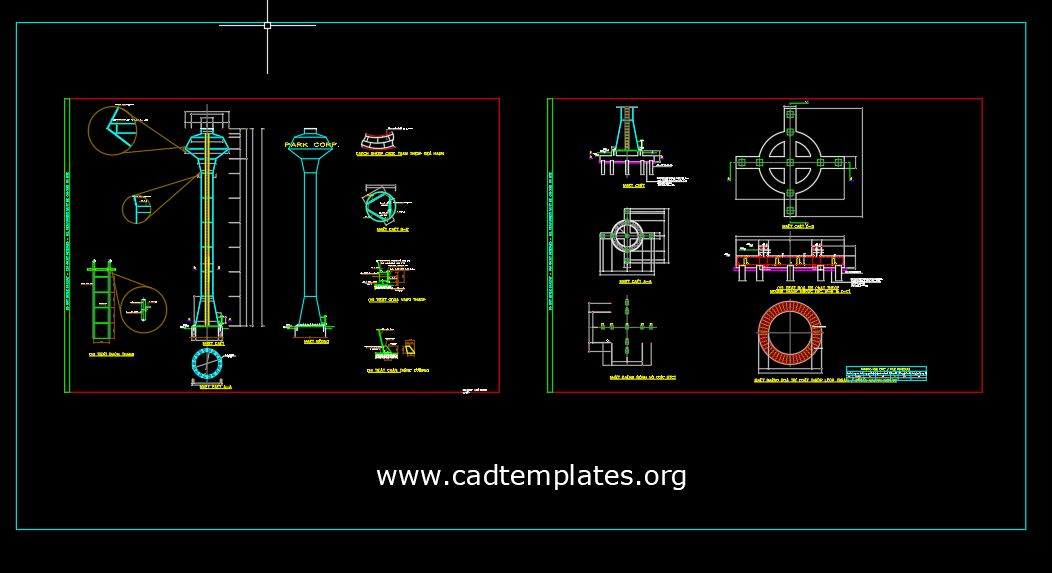 Water Tower Elevation And Foundation Structure Details CAD Template DWG