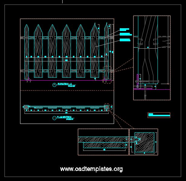 Wooden Fence Elevation and Section Details CAD Template DWG