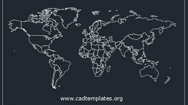 World Map CAD Template DWG