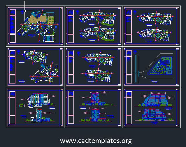 5-Star Hotel Layout Plan and Elevations CAD Template DWG