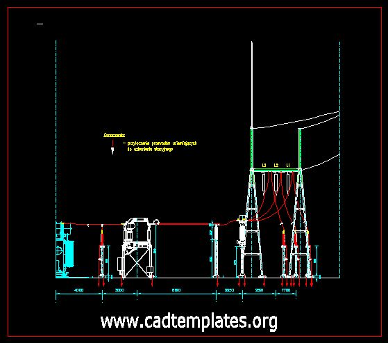 High Voltage Switchyard Scheme Details CAD Template DWG
