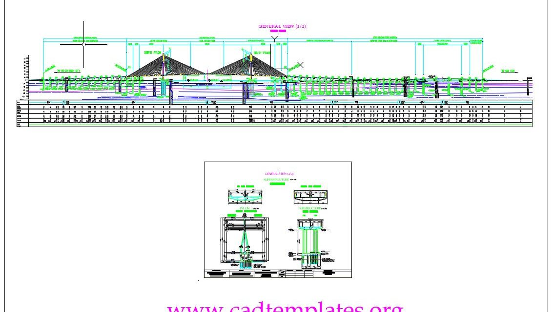 Staycable Bridge With Two Spans Profil and Section CAD Template DWG
