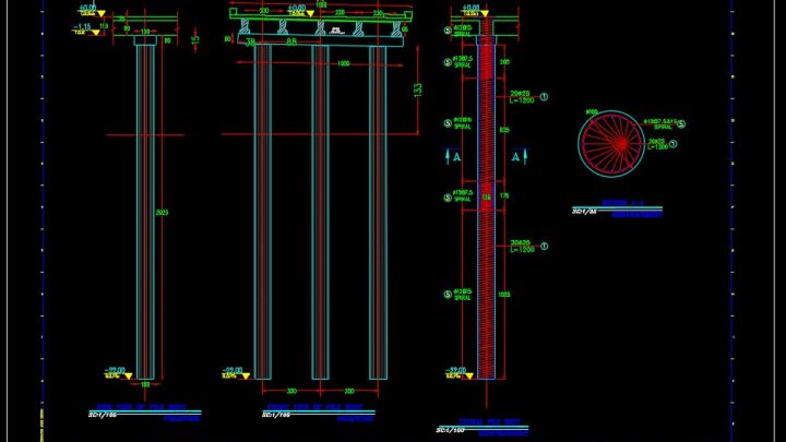 Typical Bridge Pile Bent Reinforcement CAD Template DWG