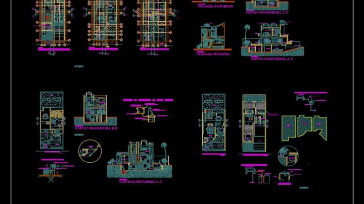 Biotecture House Layout Plan and Elevation Details CAD Template DWG