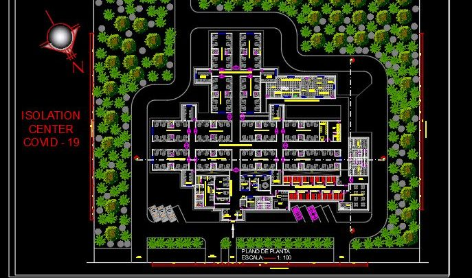 Covid Isolation Center Layout Plan CAD Templates DWG