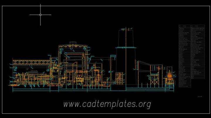 Thermal Power Station Elevation Plan CAD Template DWG