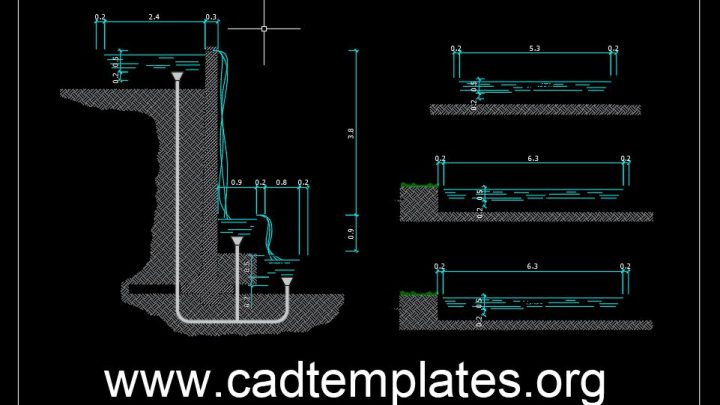 Waterfall System Details CAD Template DWG